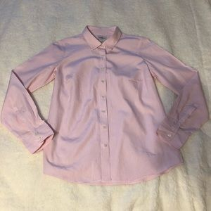 J Crew Haberdashery Pink Stripe Button Up Top M